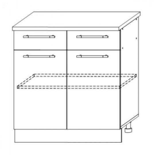 Гренада шкаф нижний с ящиками 800   ШН2Я 800