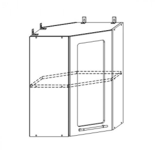 Гренада шкаф верхний угловой со стеклом 550x550 | ШВУС 550*550