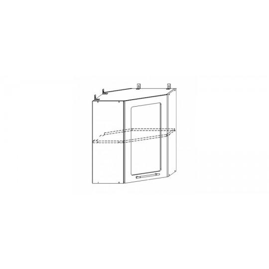 Гренада шкаф верхний угловой со стеклом 600x600| ШВУС 600*600