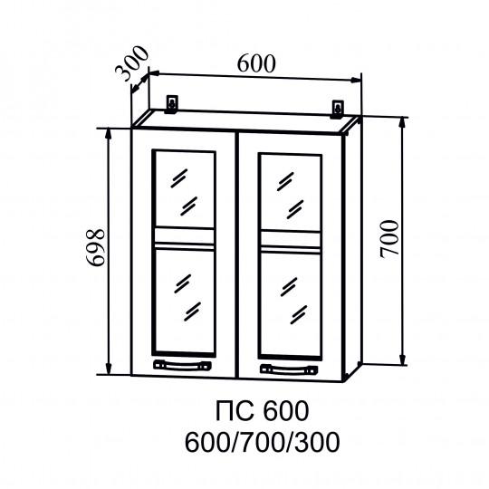 Капля шкаф навесной со стеклом 600   ПС600