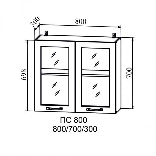 Монако шкаф навесной со стеклом 800   ПС800
