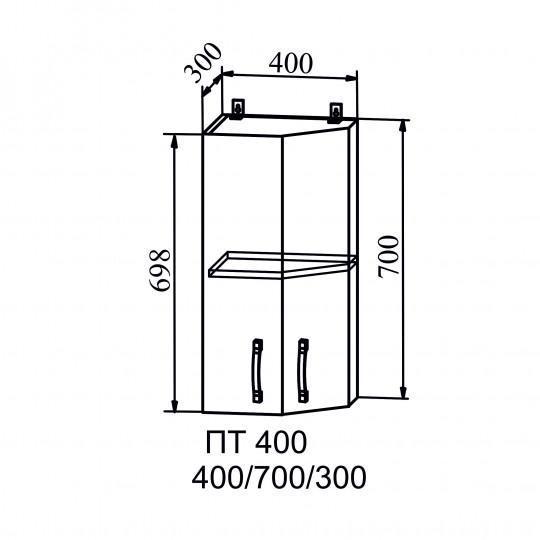 Капля шкаф навесной торцевой угловой на 400 | ПТ400