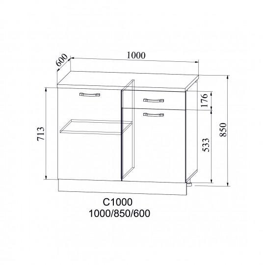 Лофт шкаф нижний на 1000 | С 1000
