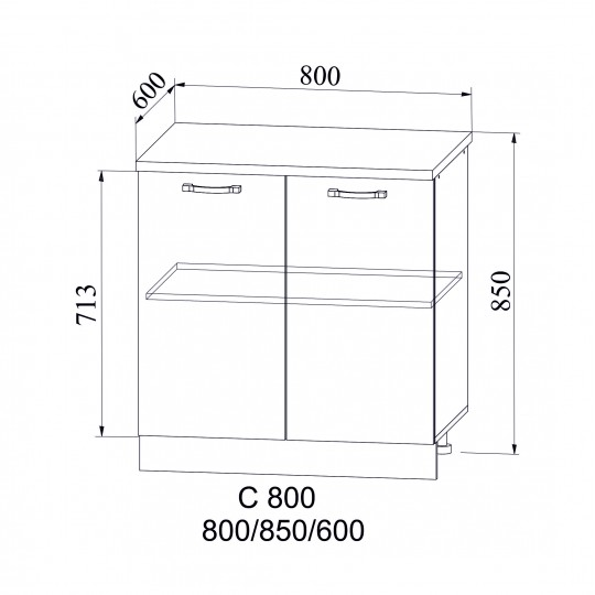 Лофт шкаф нижний на 800  | С 800