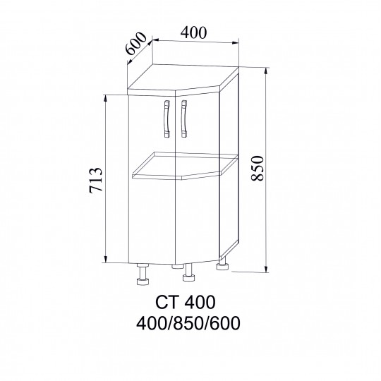 Лофт шкаф нижний торцевой угловой на 400 | СТ400