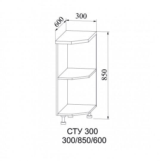 Лофт шкаф нижний полка угловая (левая или правая) на 300 | СТУ300
