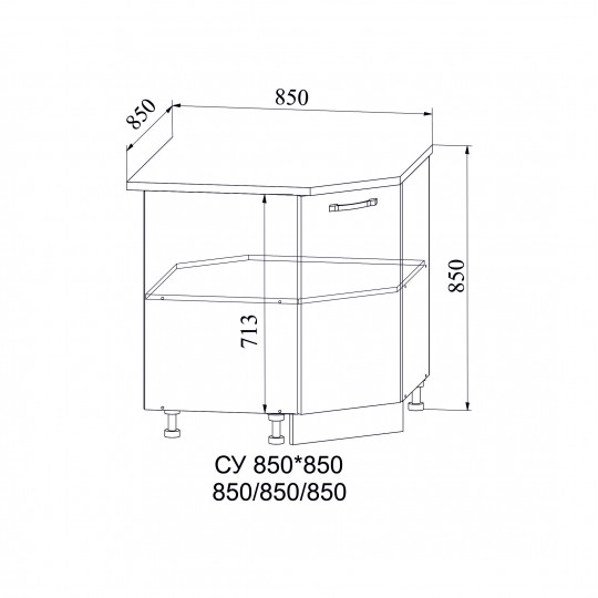 Лофт шкаф нижний угловой 850х850 | СУ850
