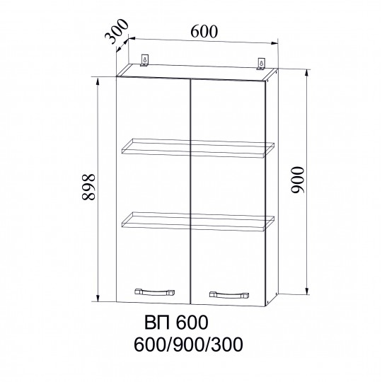 Капля шкаф навесной высокий на 600 | ВП600