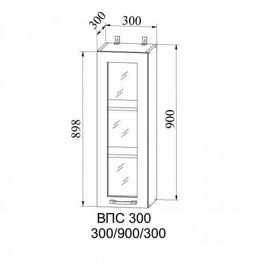 Капля шкаф навесной высокий со стеклом 300 | ВПС300