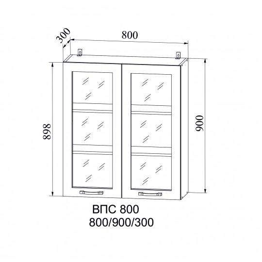 Капля шкаф навесной высокий со стеклом 800 | ВПС800